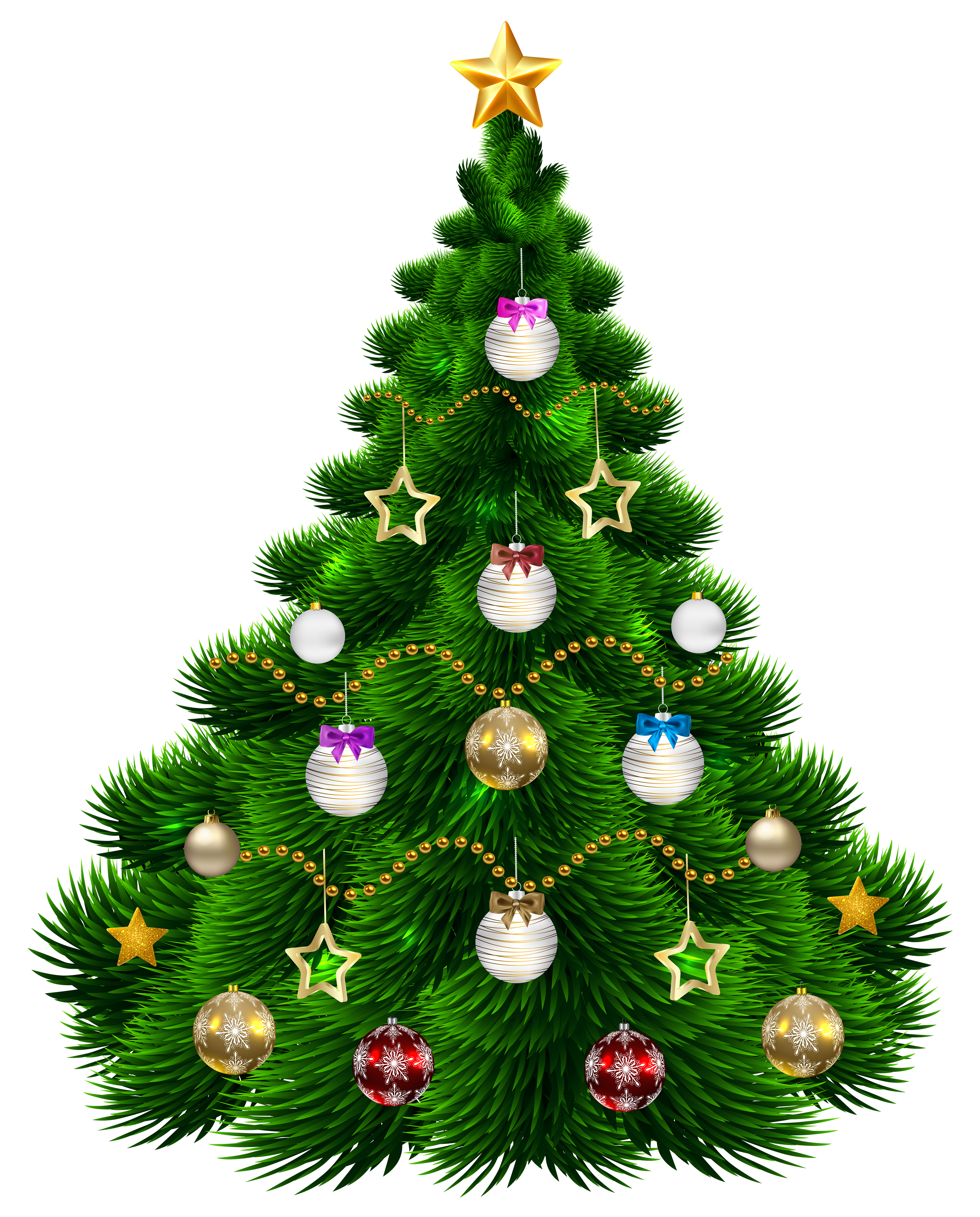 Beautiful Christmas Tree with Ornaments PNG Clip.
