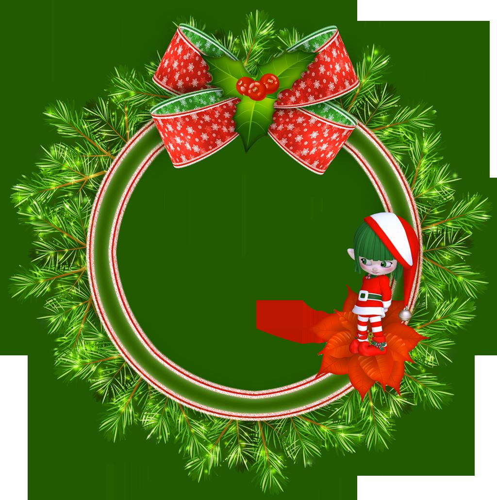 Round Transparent Christmas Photo Frame with Elf.