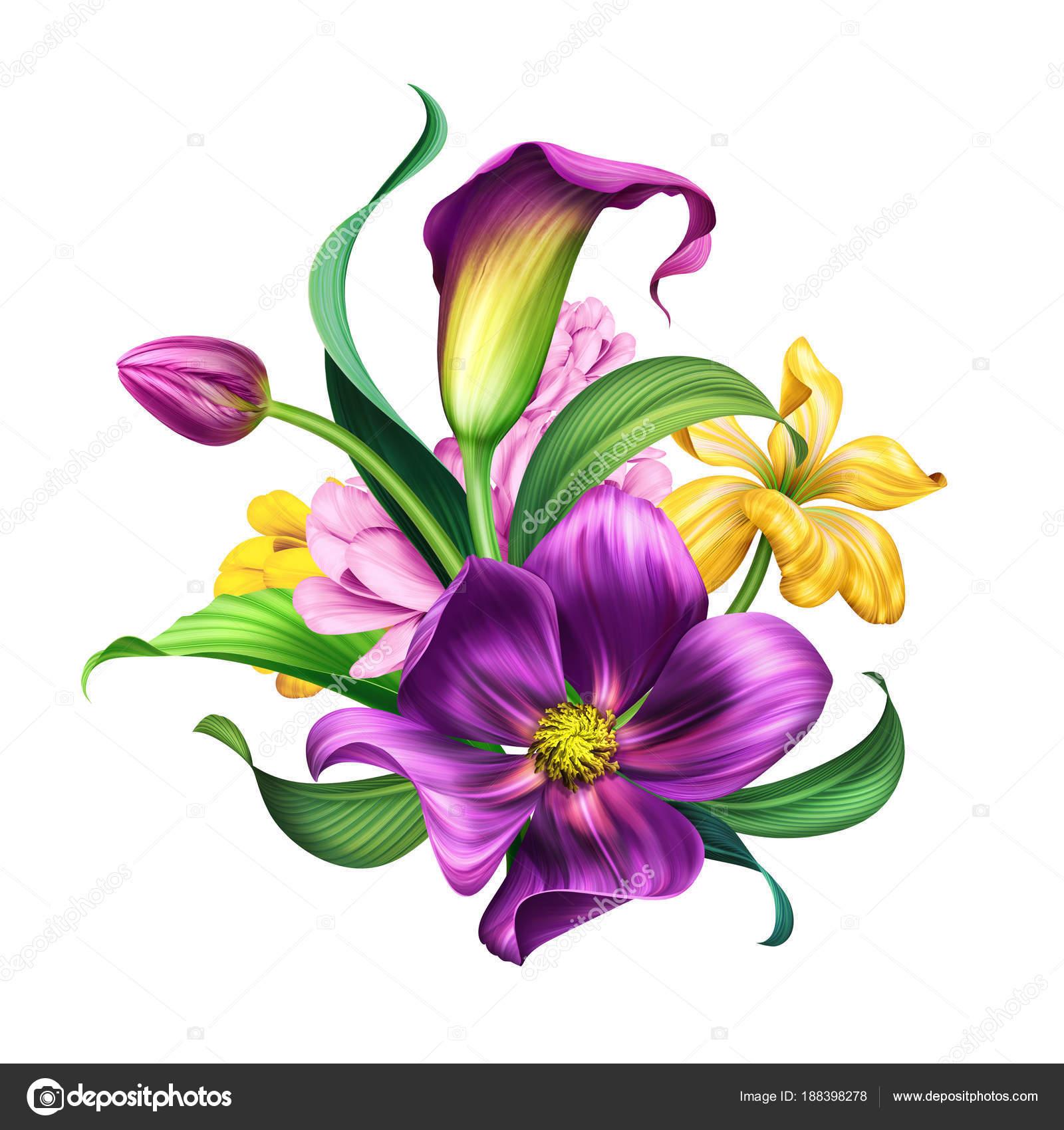 Clipart: purple flower bouquet.