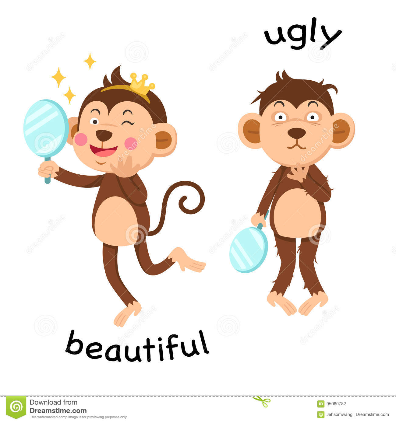 Opposite Beautiful And Ugly Illustration Stock Vector.