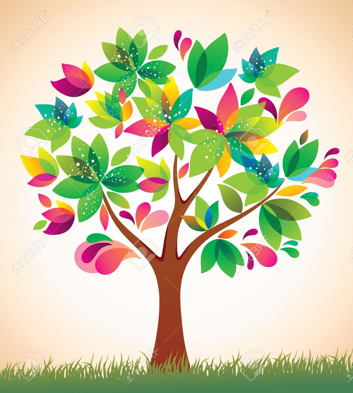 Colorful tree clipart.