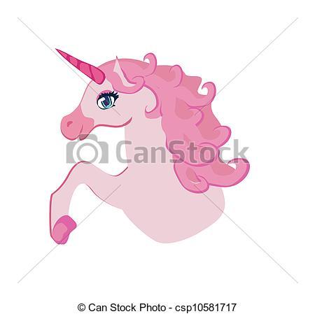 Vector Clip Art of Vector Illustration of beautiful pink Unicorn.