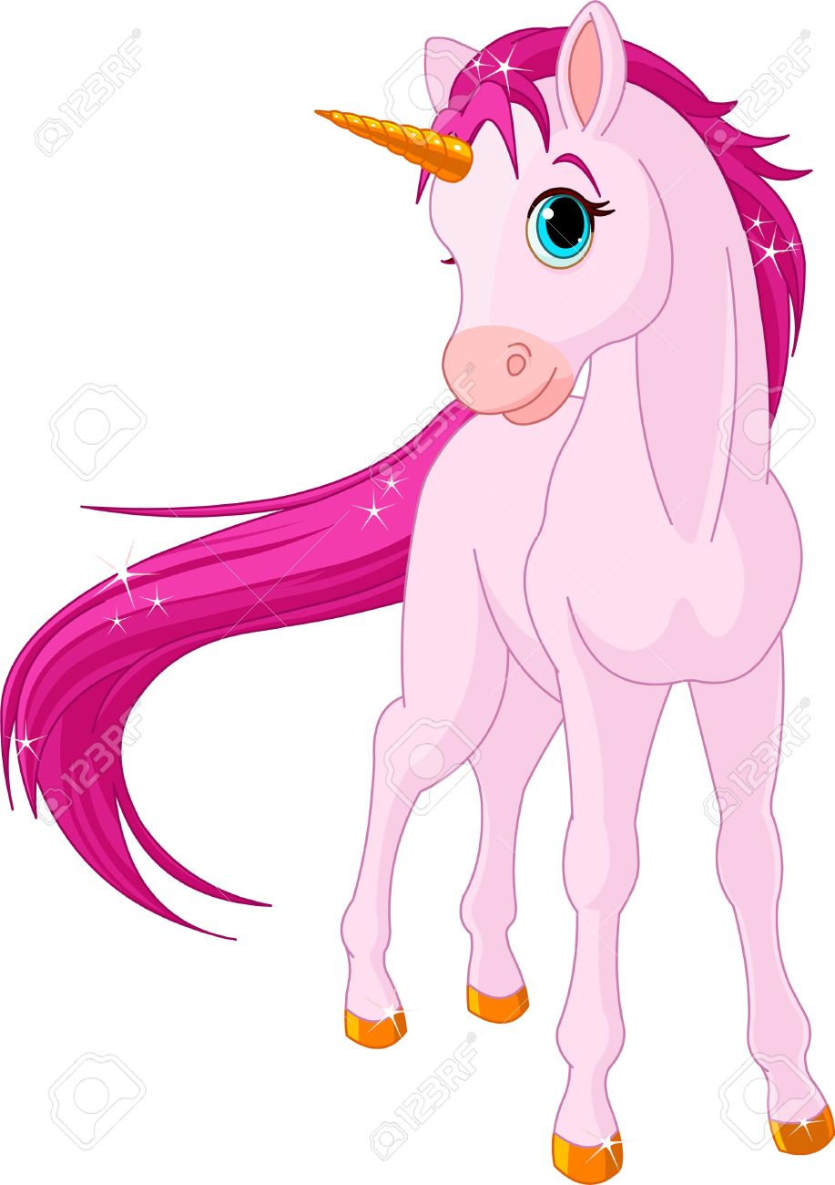 Standing Beautiful Baby Unicorn Royalty Free Cliparts, Vectors.