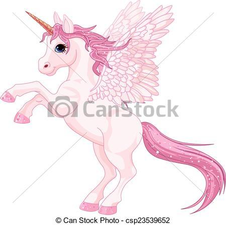 Clipart Vector of Unicorn Pegasus.