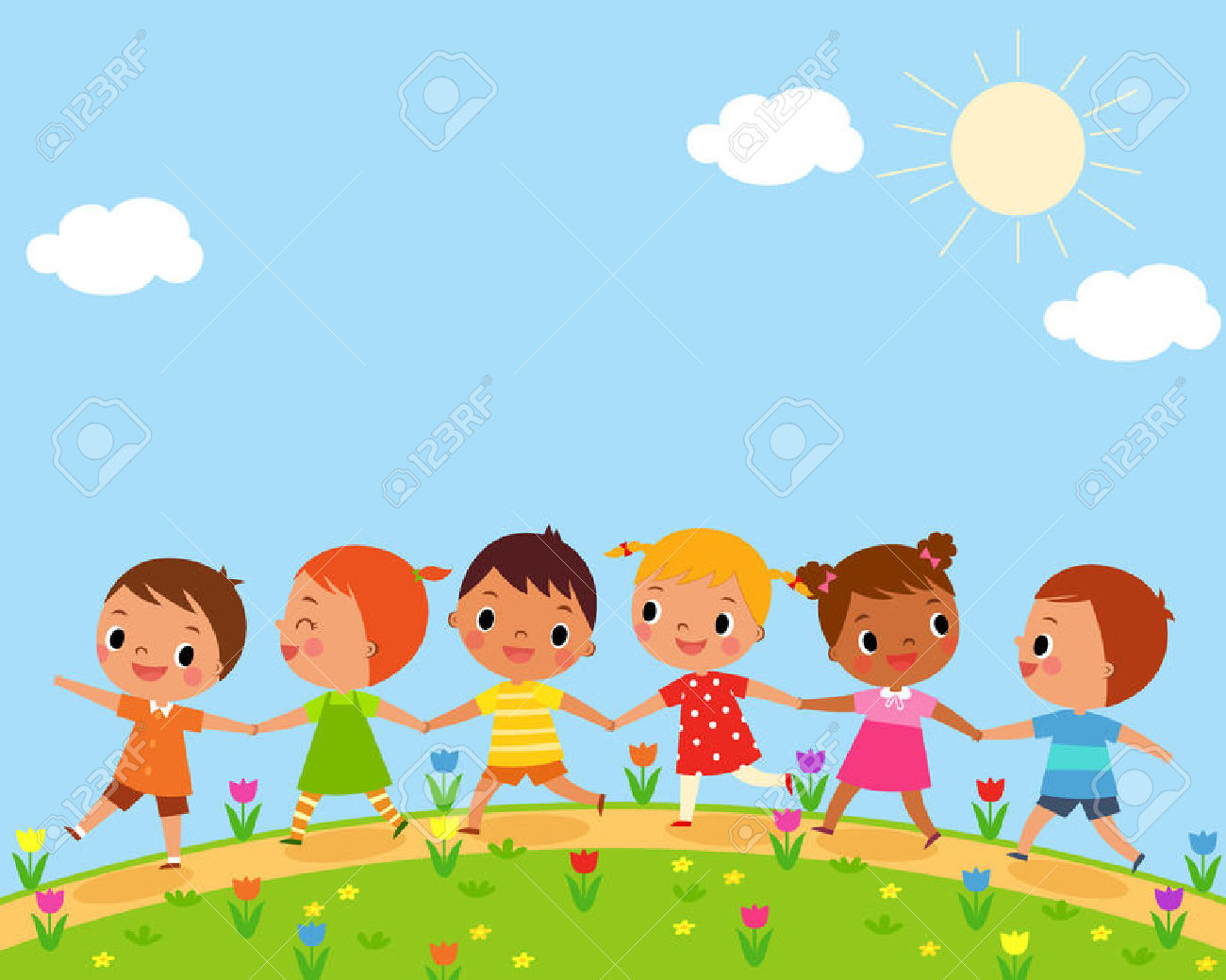 Illustration Of Children Walk On A Beautiful Spring Day Royalty.