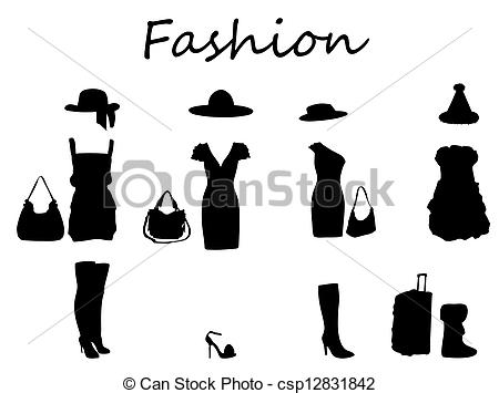 Vectors of Black and White Girls Fashion Mannequin Dress.