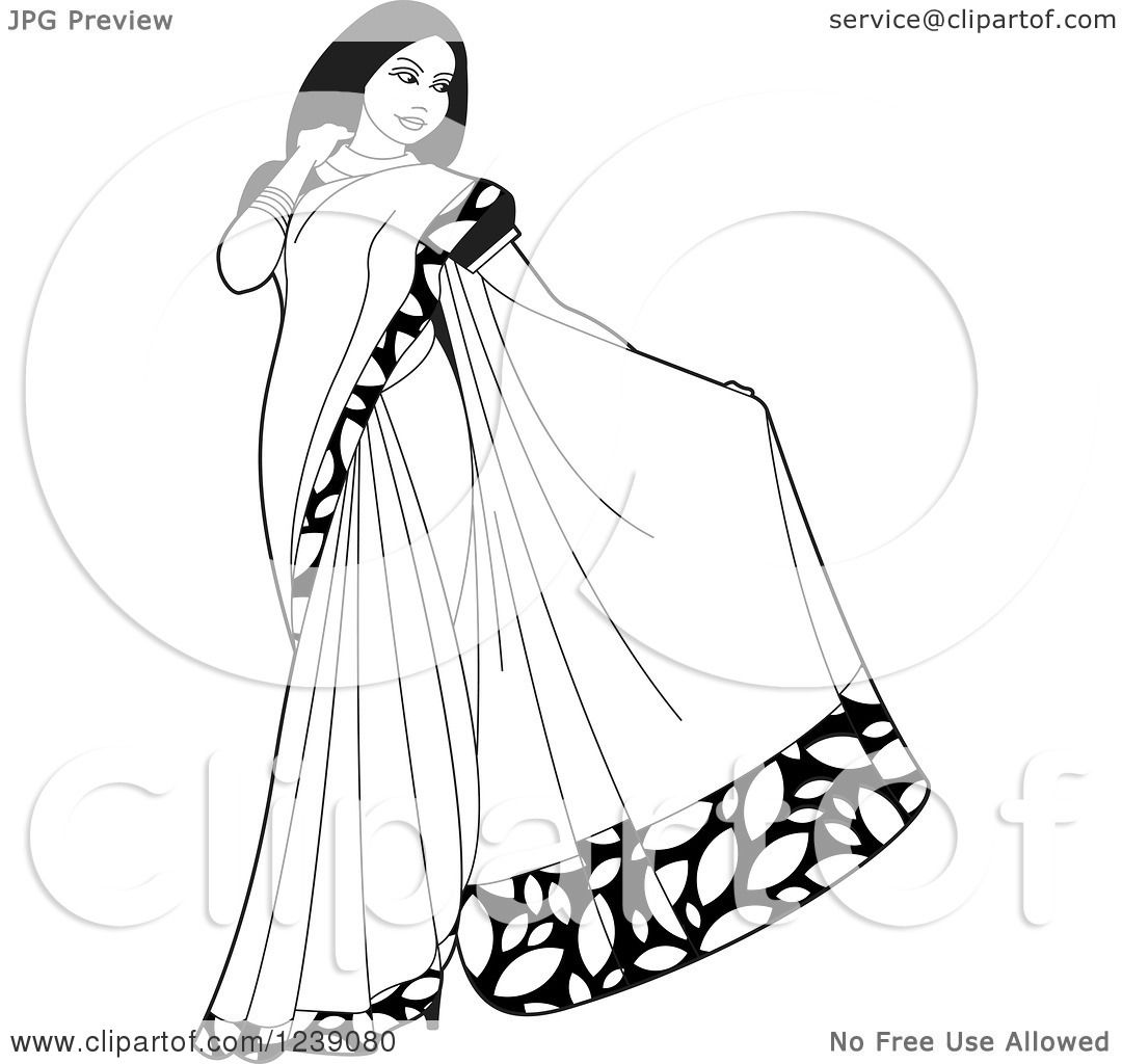 Clipart of a Black and White Beautiful Indian Woman Modeling a.