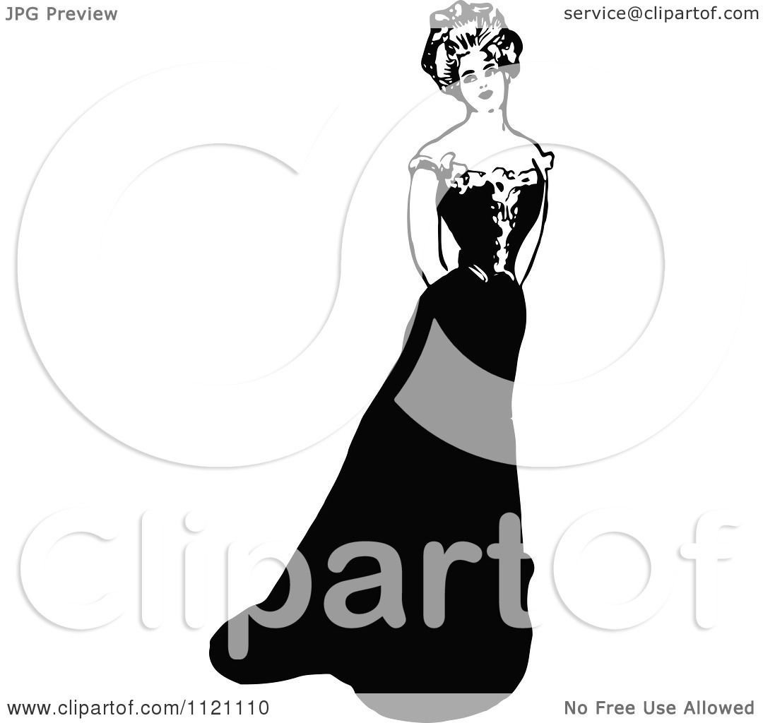 Clipart Of A Retro Vintage Black And White Lady In A Beautiful.