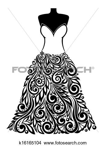 Clipart of Silhouette of a beautiful dress with a floral element.