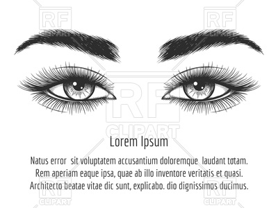 Beautiful female eyes on white background Vector Image.