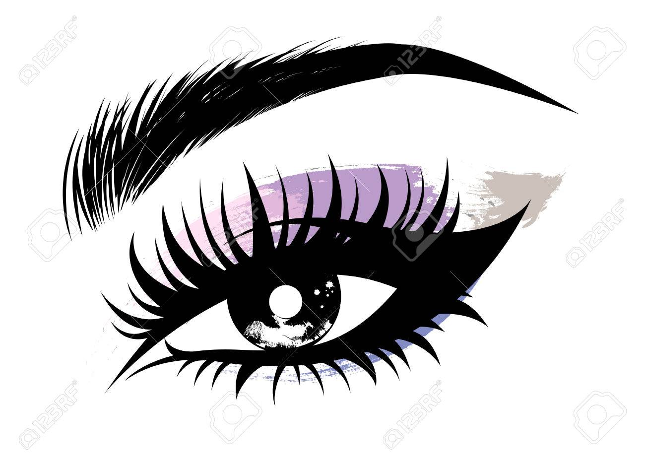 Illustration vector of beautiful eye makeup and brow on white...