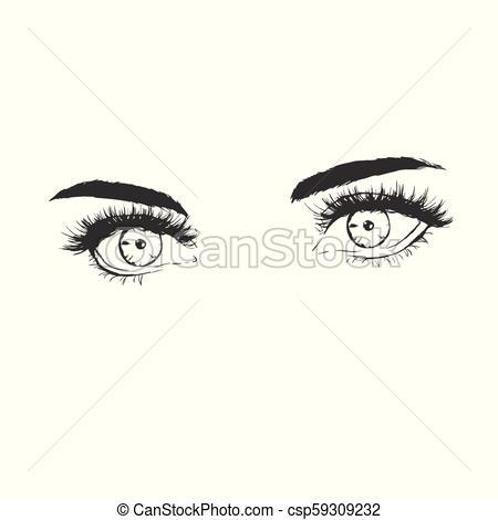 fashion illustration with beautiful eyes.