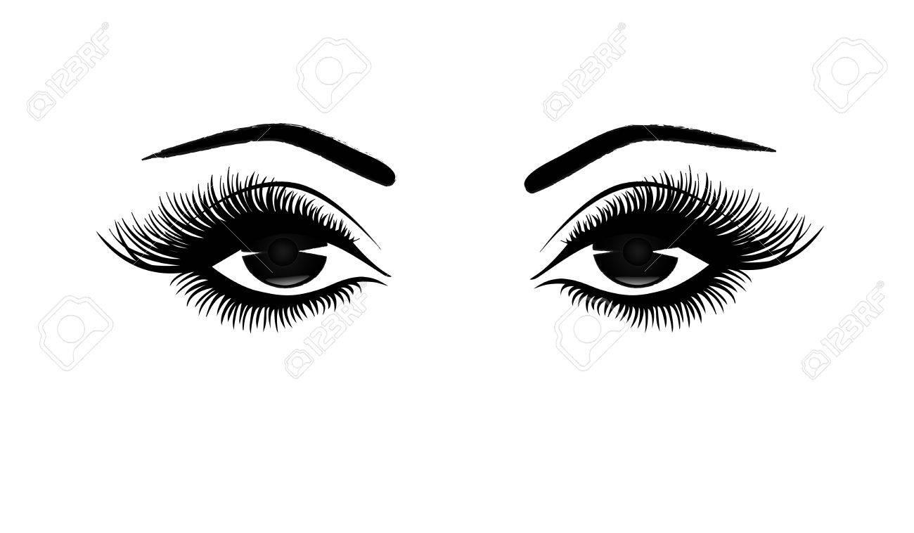 Beautiful woman's eyes close.