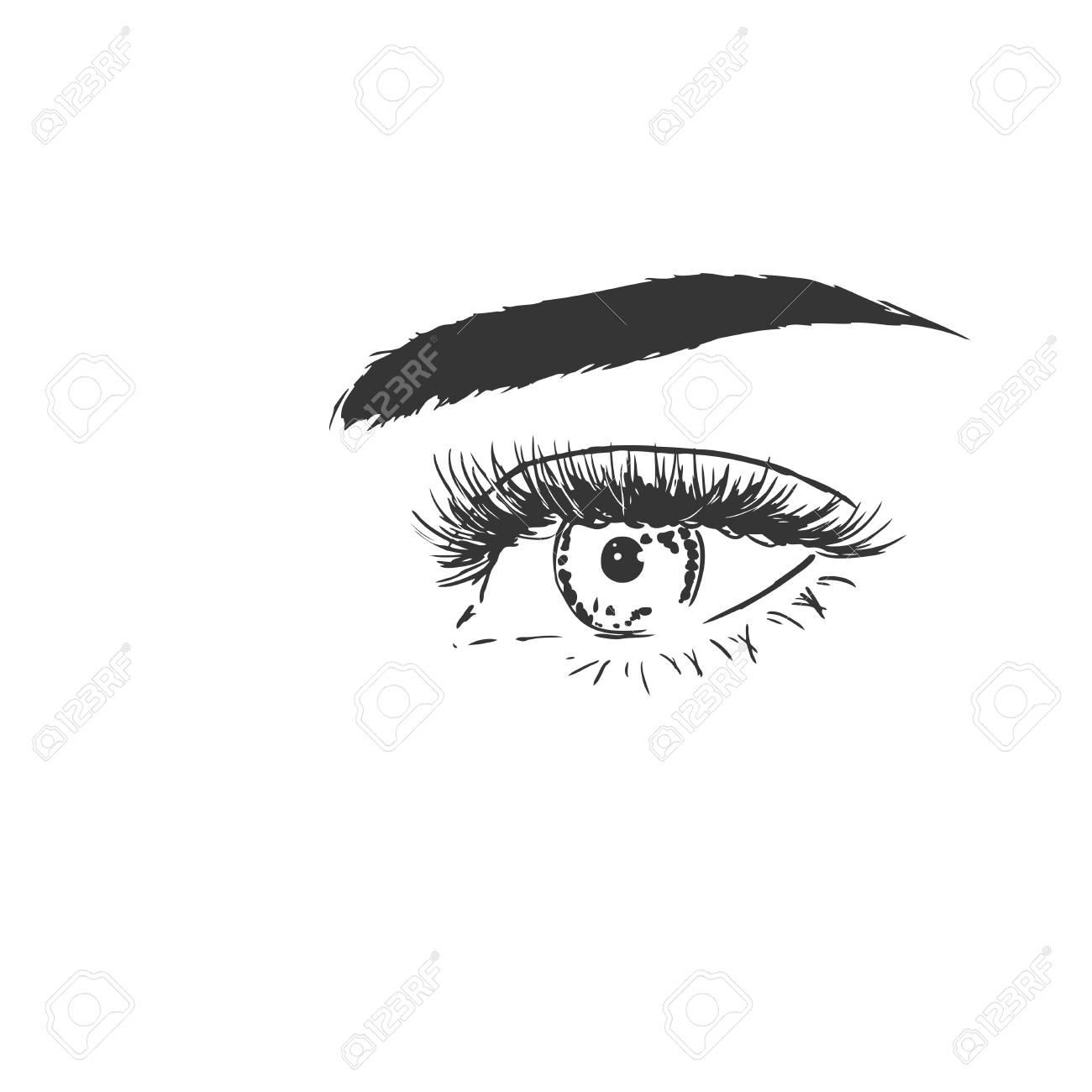 Close up with beautiful eye with long eyelashes. Fashion black...