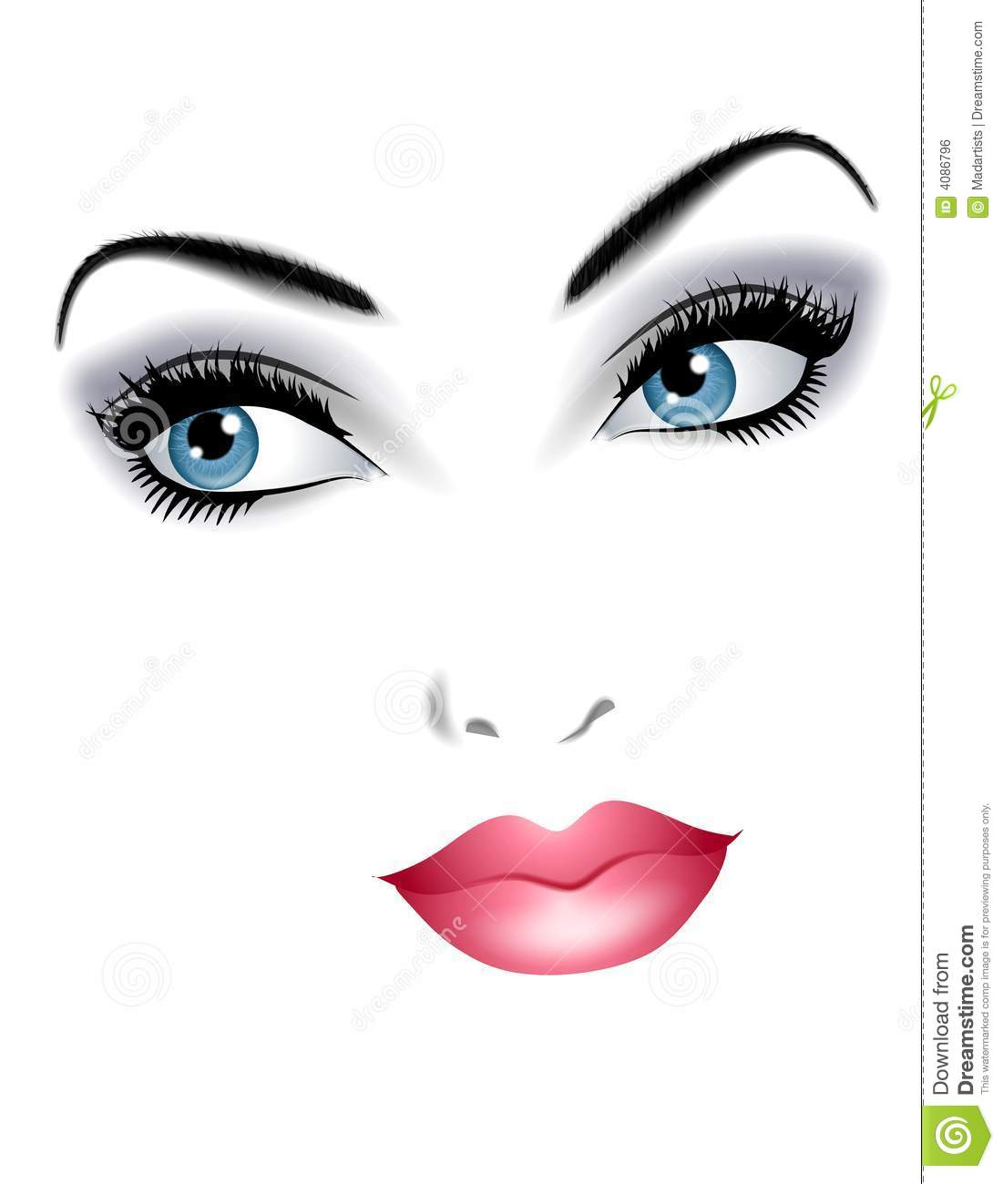 Beautiful Face Of Woman Facial Features Stock Illustration.