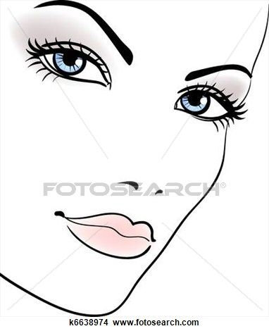 Beauty girl face, beautiful woman vector portrait Clipart.