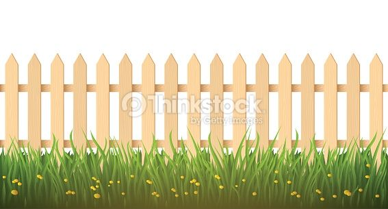 Wooden fence and grass. Design element in vector.