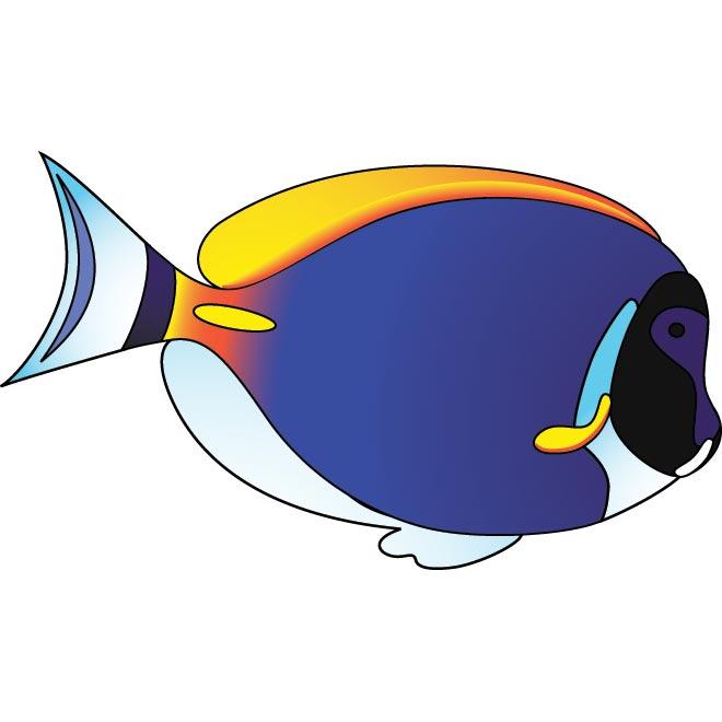 Cute blue fish clipart.