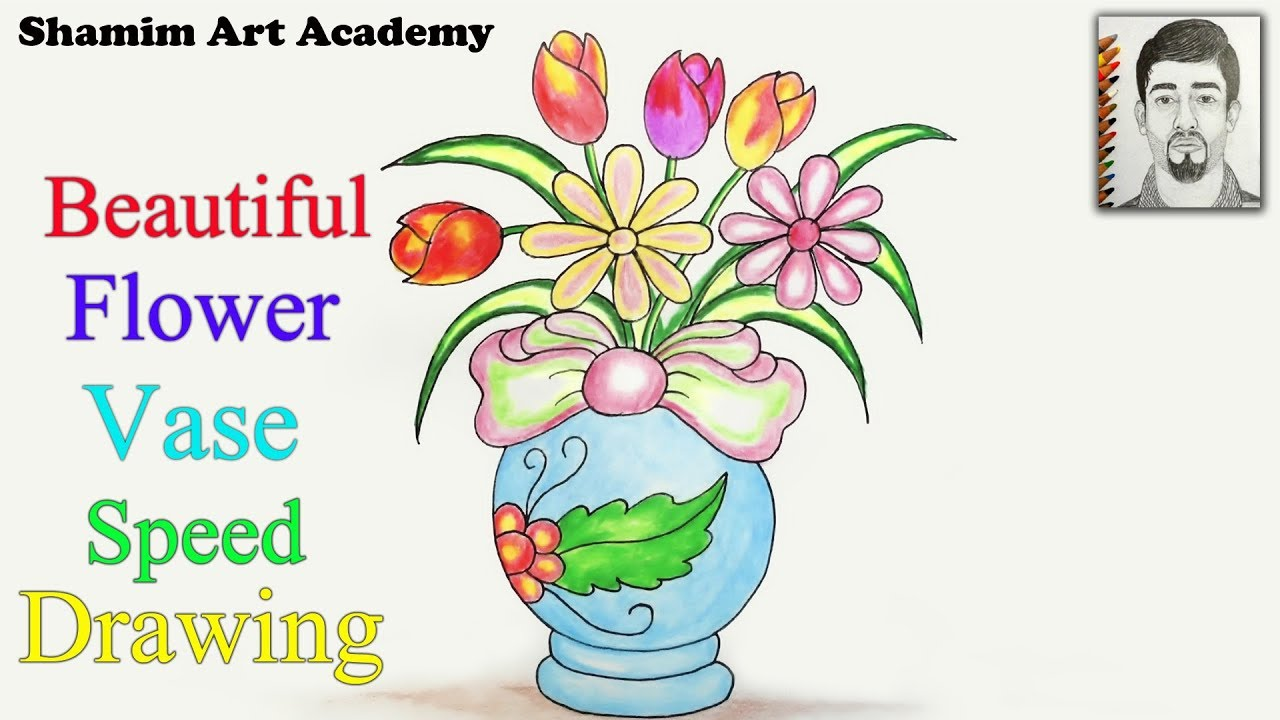How to draw Beautiful Flower Vase step by step (very easy) Speed Drawing.