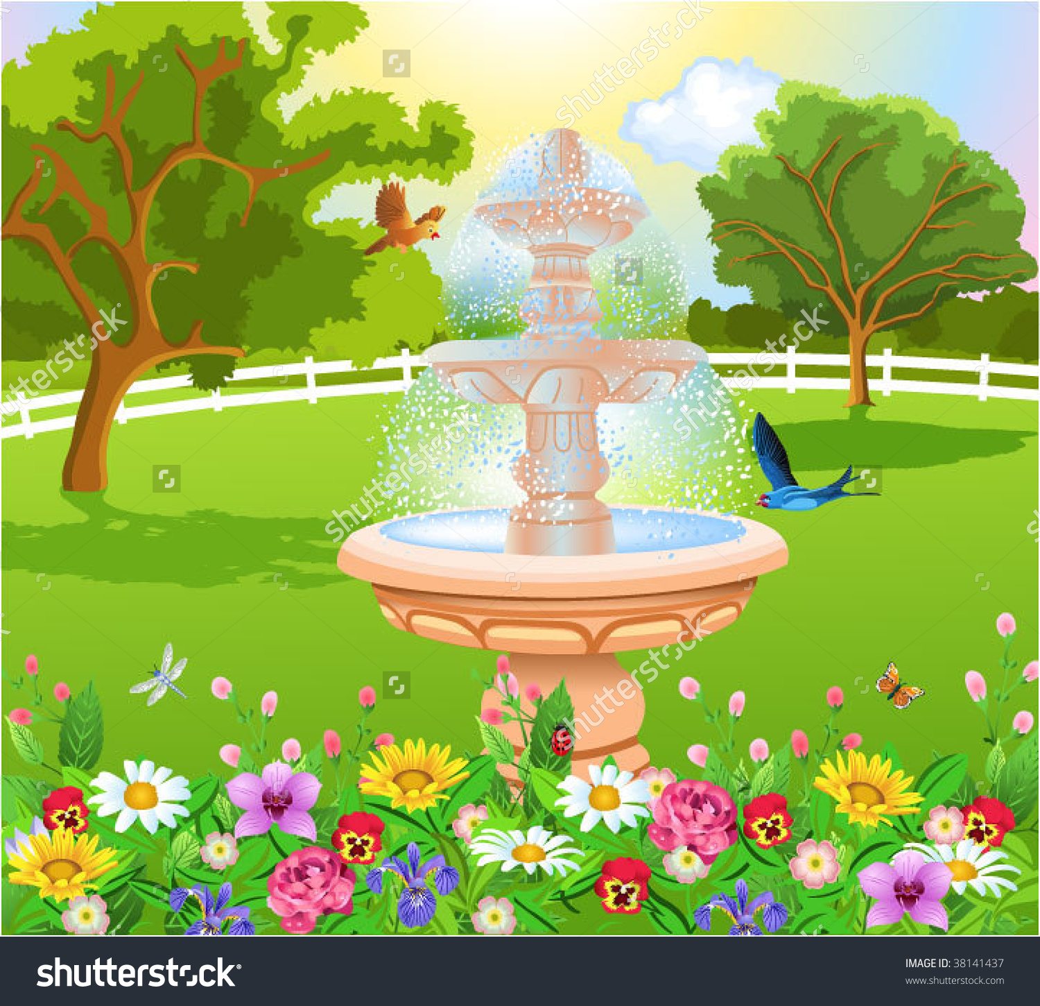 Beautiful fountain clipart Clipground