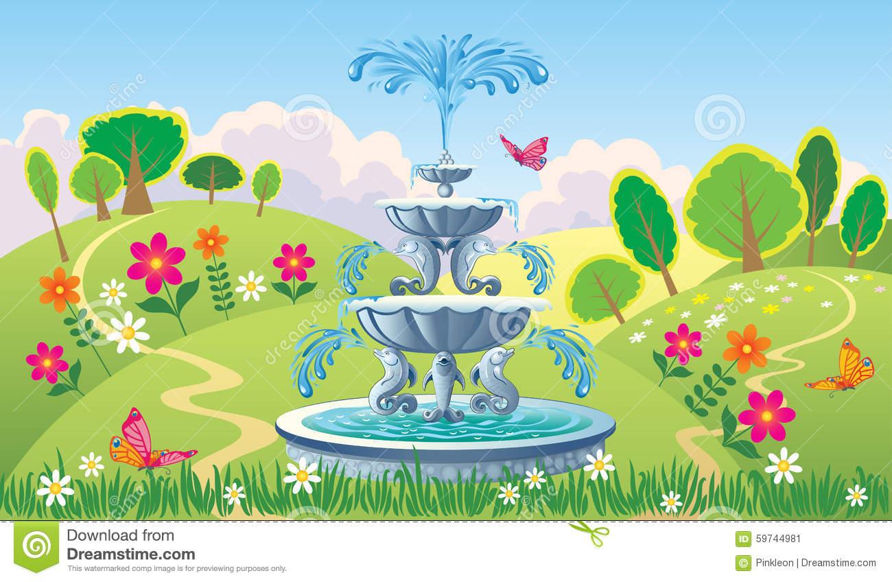 Beautiful Summer Landscape Fountain Stock Illustrations.