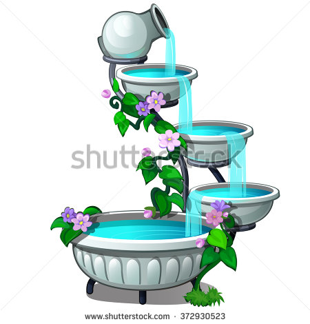 Clipart water fountain in yard.