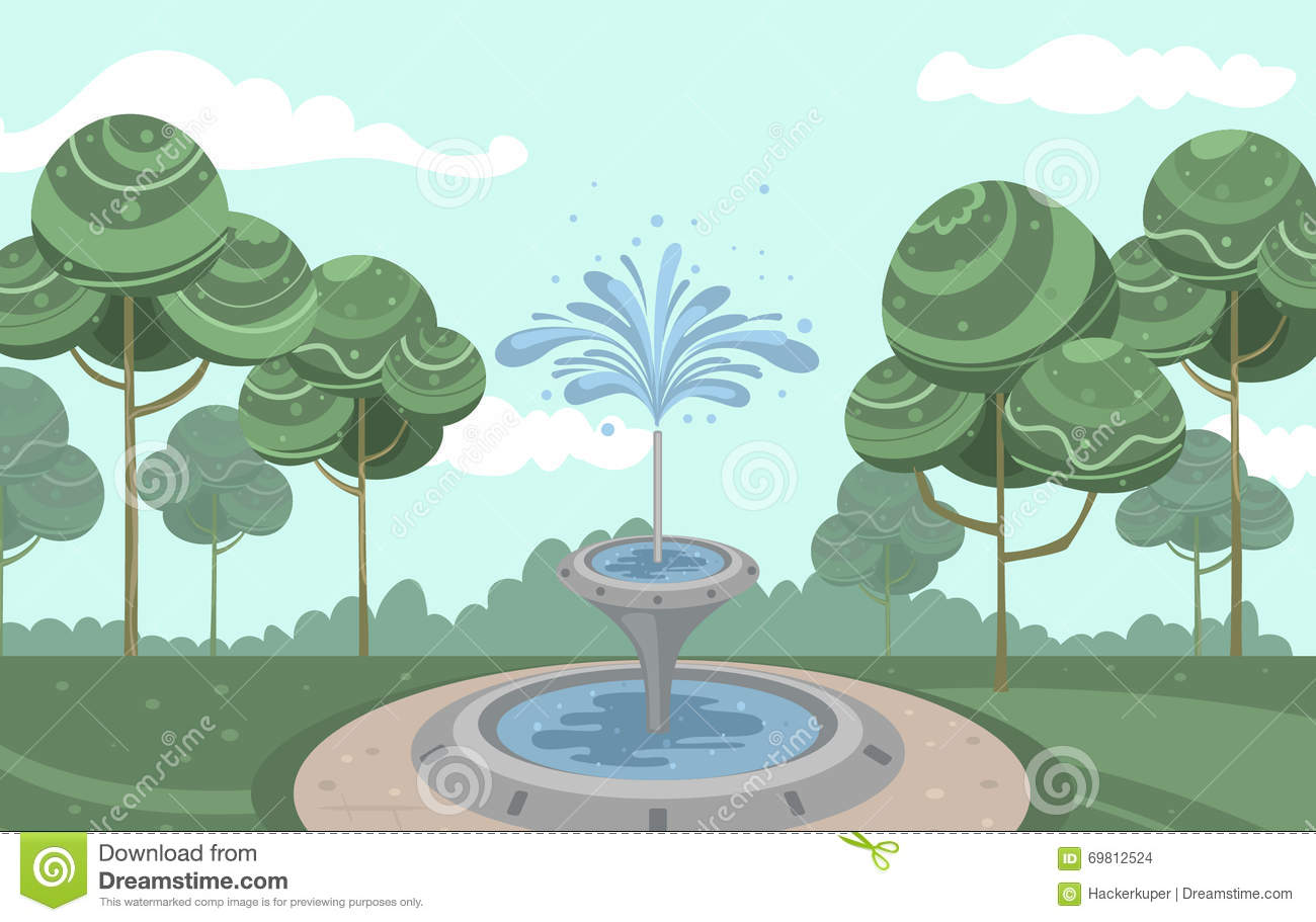 Vector Vintage Garden With Beautiful Fountain And Squirting Water.