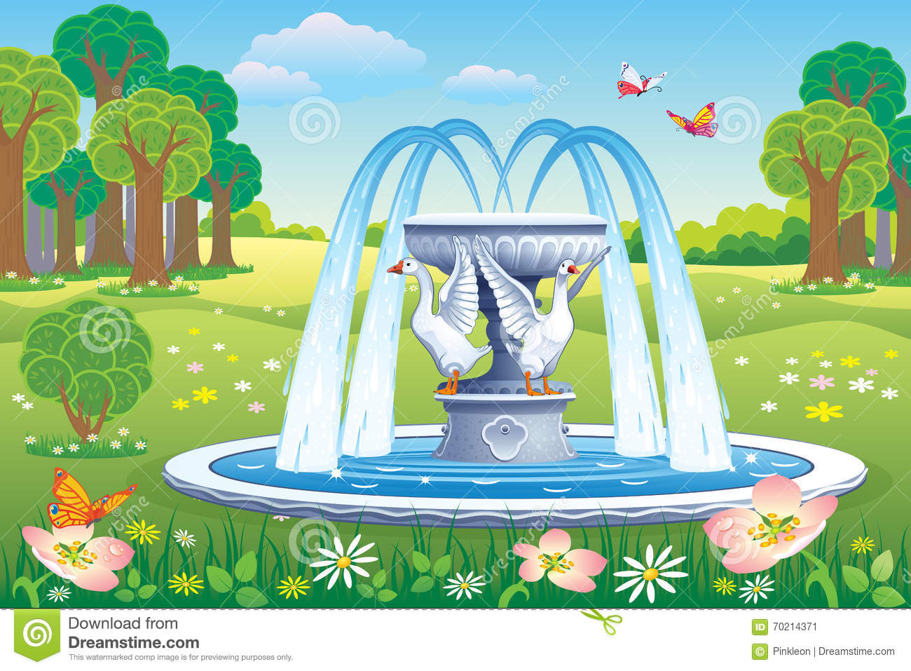 Beautiful Fountain Park Stock Illustrations.