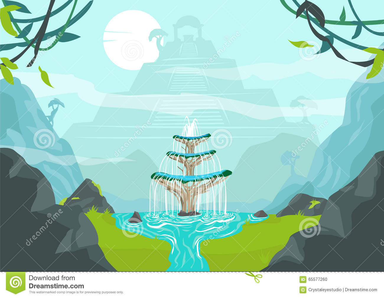 A Lost City With Fountain Of Youth Or Elixir Of Life Concept.