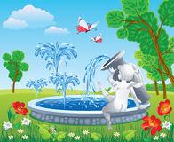 English Park Beautiful Fountain Stock Illustrations.