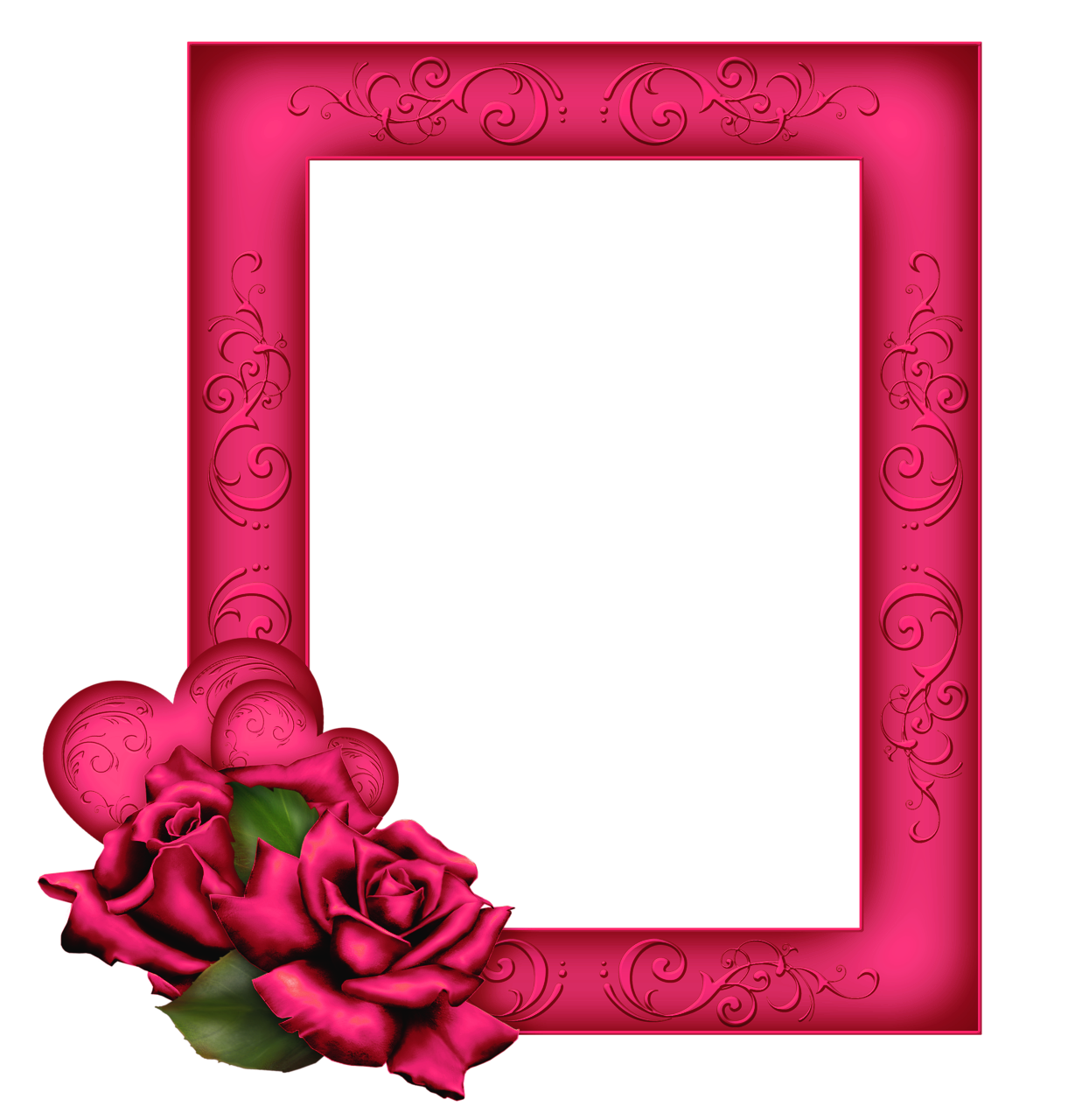 Beautiful Transparent PNG Pink Frame with Roses.
