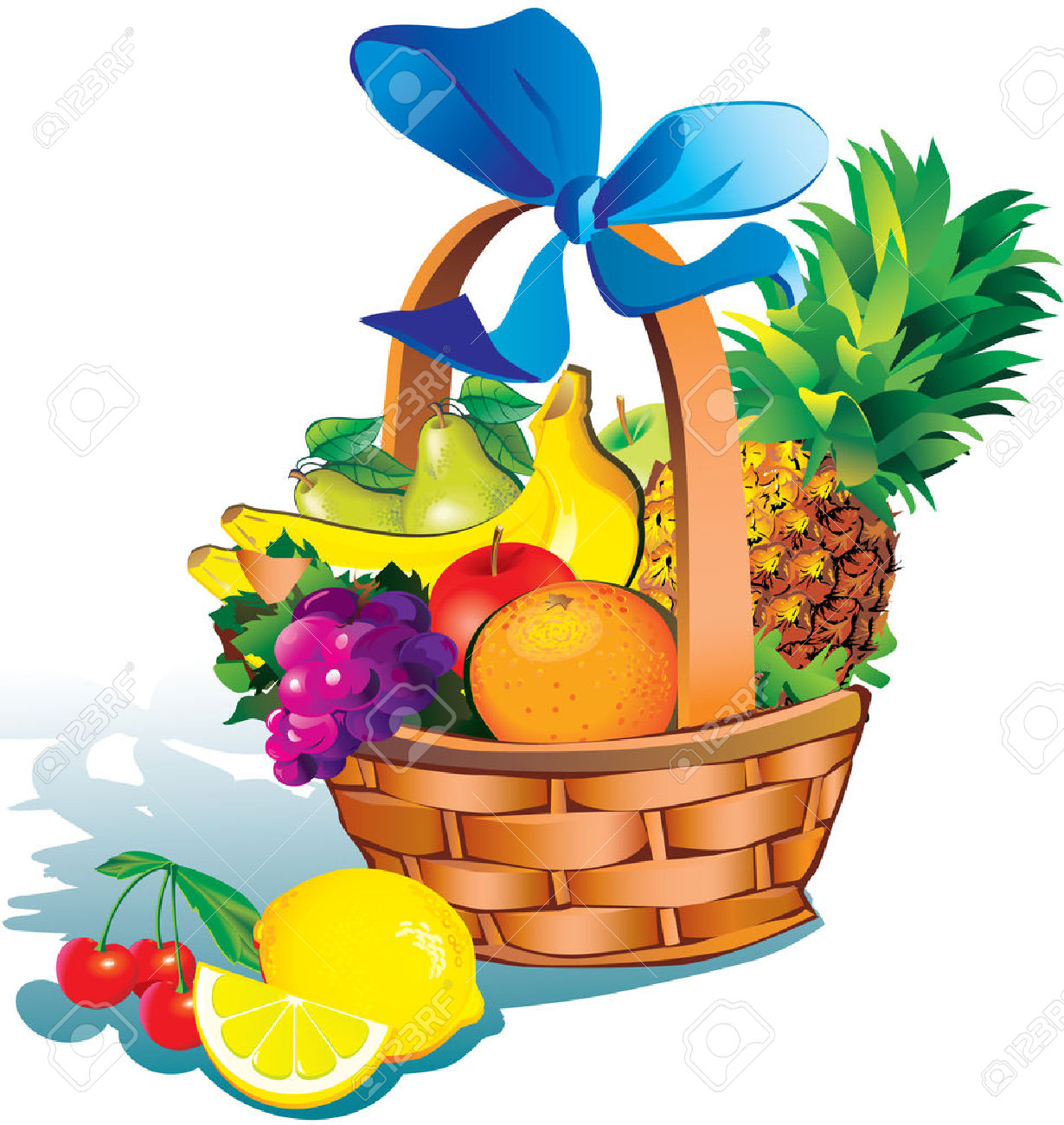 Beautiful Fruits With Basket Over White Background. Salubrious.
