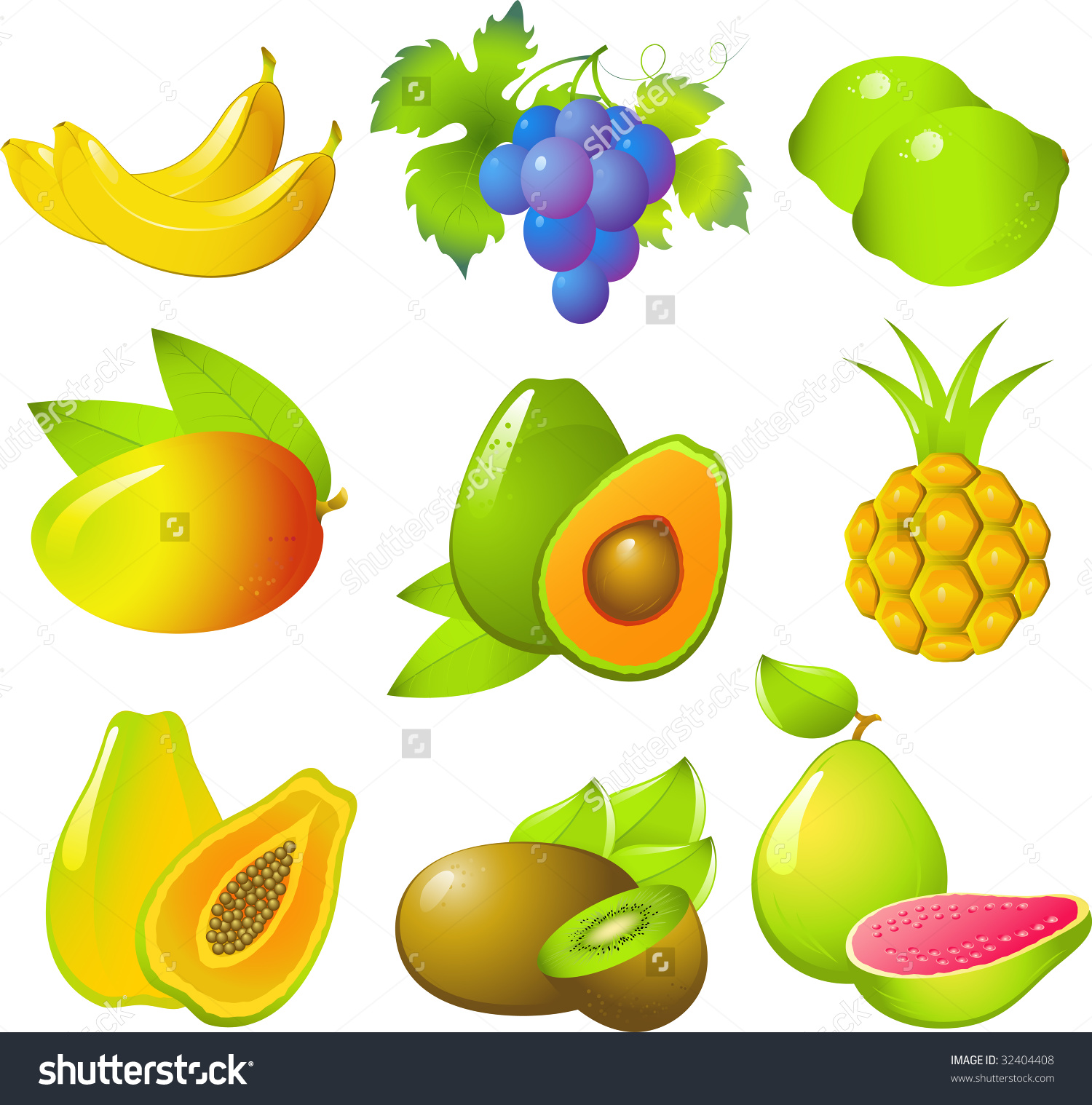 Vector Images Beautiful Exotic Fruits Bananas Stock Vector.