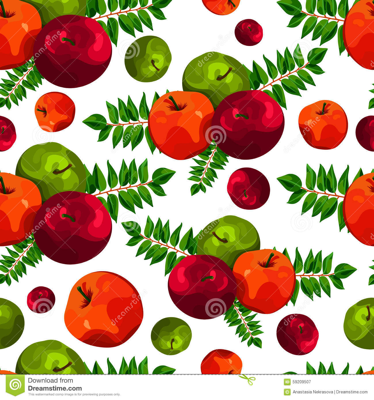 Stylish Seamless Pattern Of Leaves And Apples. Fruit Pattern.