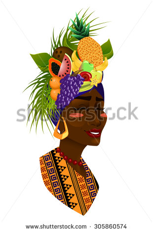 Clipart woman with fruit.