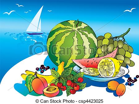 Clipart Vector of Fruits..