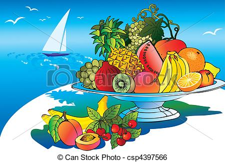 Clip Art Vector of Fruits..