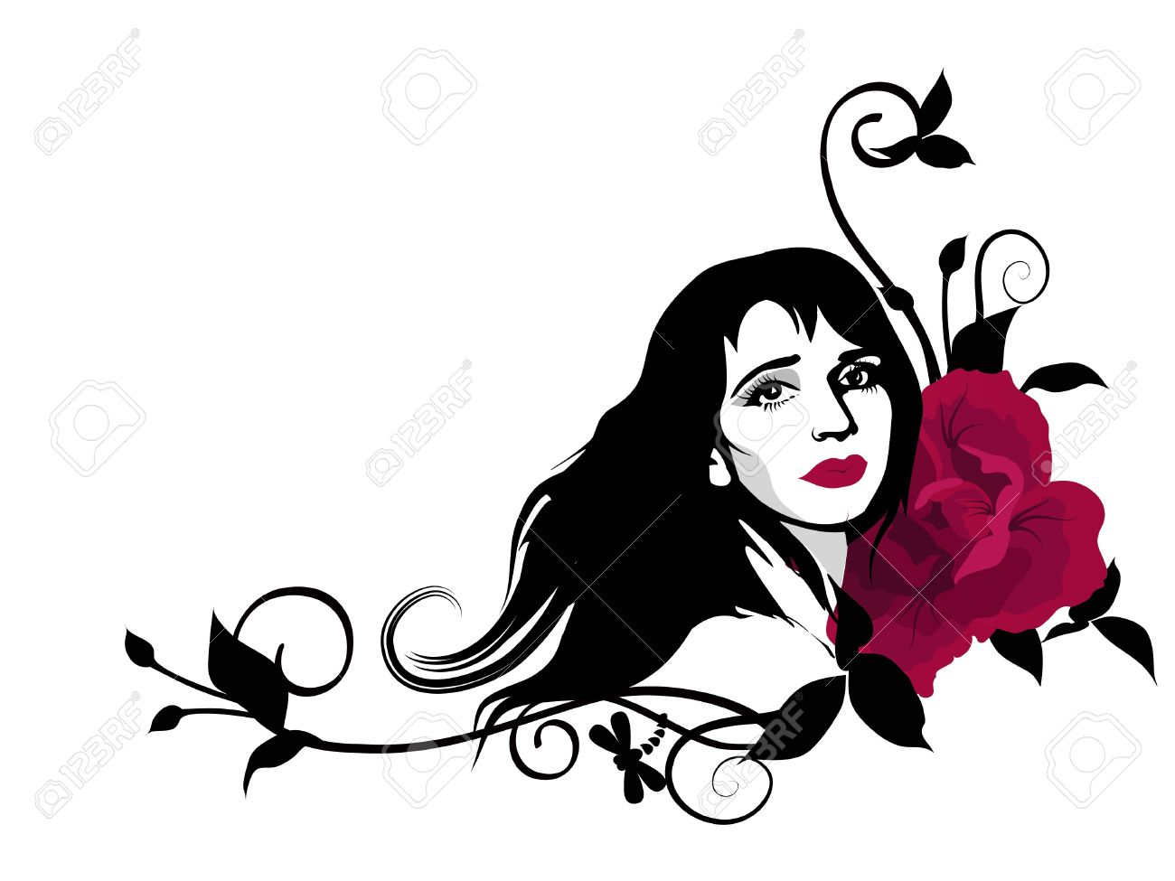 Stylish Clipart With Beautiful Girl Face, Swirls And Red Rose.