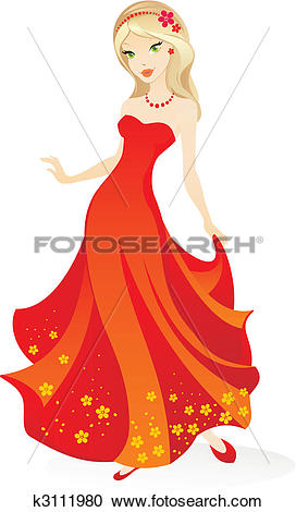 Clipart of beautiful girl k3111980.