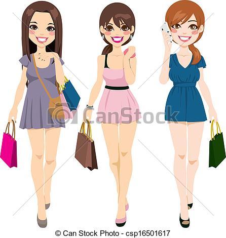 Beautiful girls clipart.