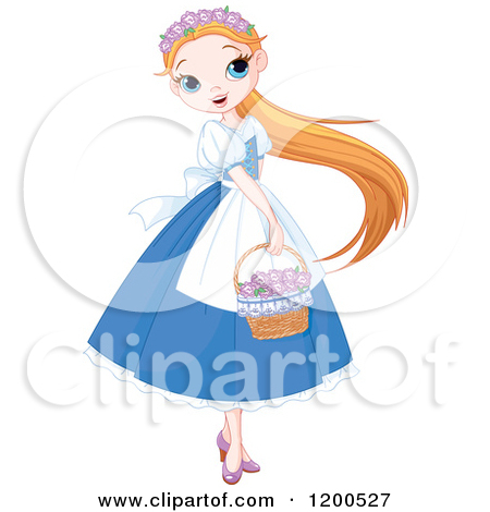 Beautiful small girl clipart.