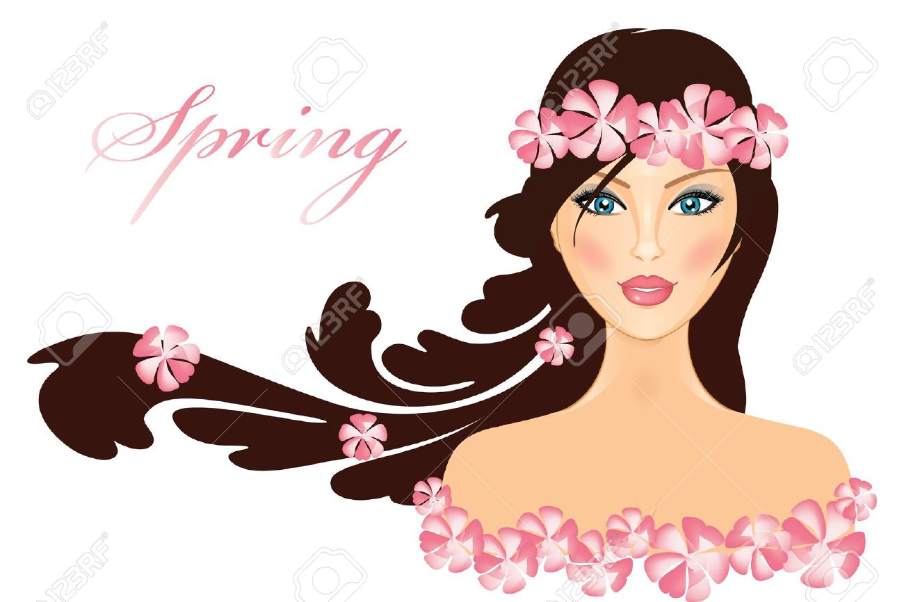 Clipart of beautiful girl.