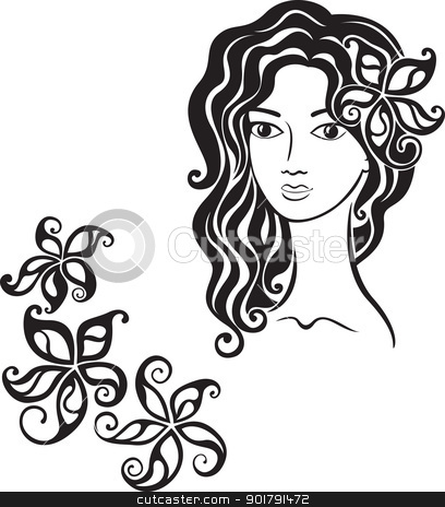 Beautiful y girl clipart.