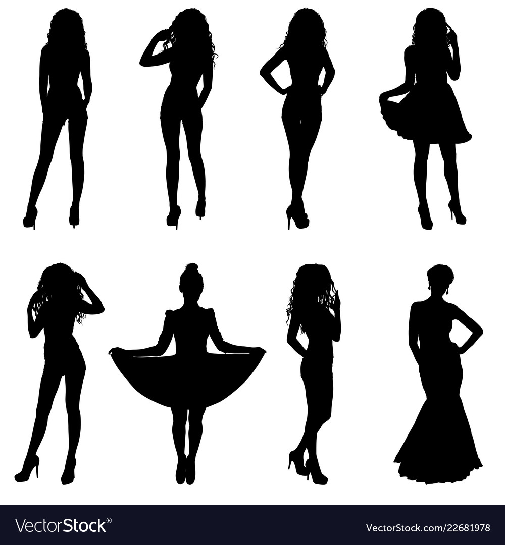 Beautiful fashion girl silhouette on a white.