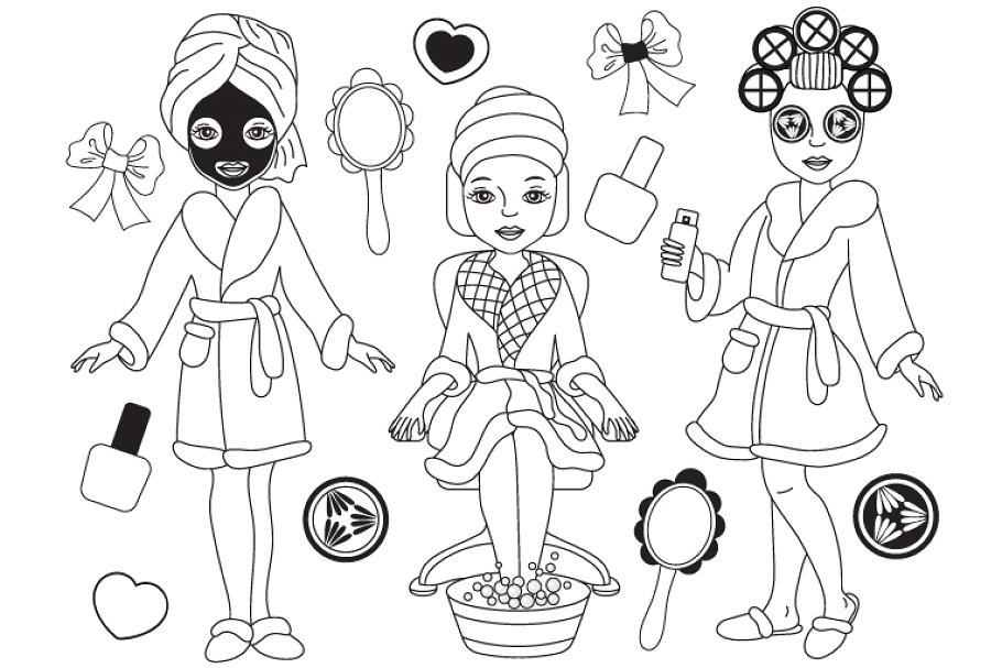 Vector Black and White Spa Girls Set.
