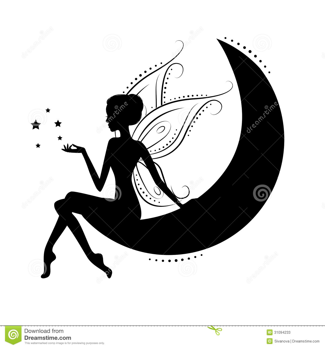 Fairy Sitting On The Moon Silhouette.