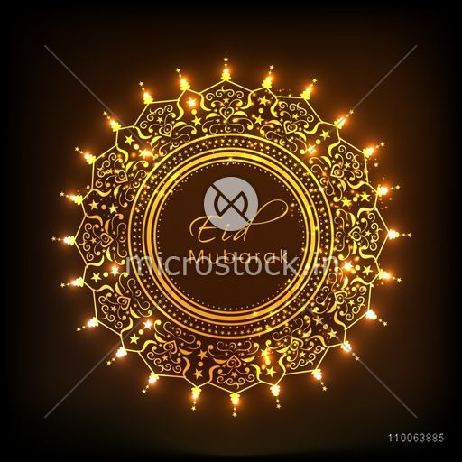 Floral decorated beautiful golden frame with glowing lights on.