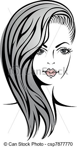 Vector Clipart of girl with blond hair.