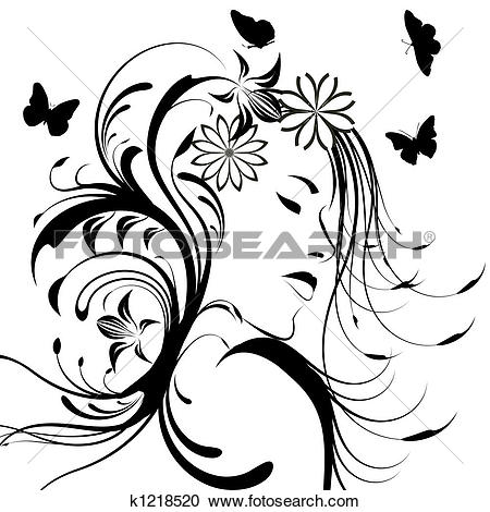 Clip Art of beautiful girl eyes and light long hair k6514342.