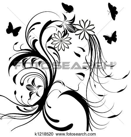 Clip Art of beautiful girl eyes and light long hair k6514342.